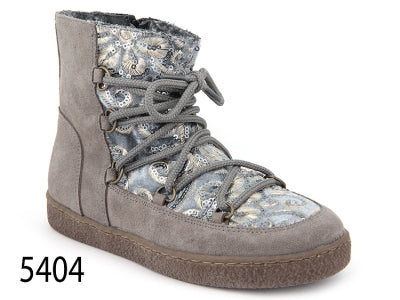 Confetti Grey Suede and Sequin Print Toledo Boot 5404