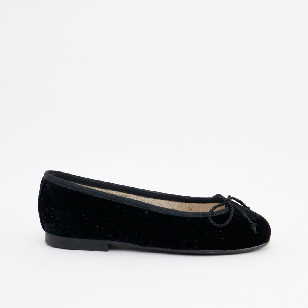 Papanatas Black Velvet Shimmer Ballet Slip On 5631