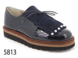 Confetti Navy Patent Leather Laced Fringe Pearl Oxford 5813
