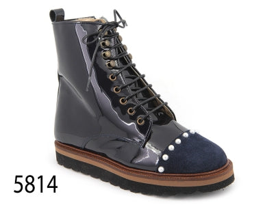 Confetti Navy Patent Leather Pearl Boot 5814