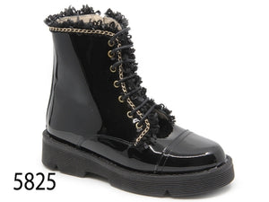 Confetti Black Patent Gold Trim Combat Boot with Side Zipper 5825