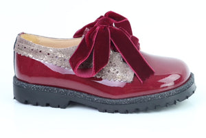 Papanatas Burgundy and Gold Patent Leather Laced Oxford 6136X