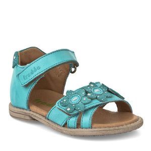 Froddo Turquoise Flower Leather Velcro Sandal 2150082
