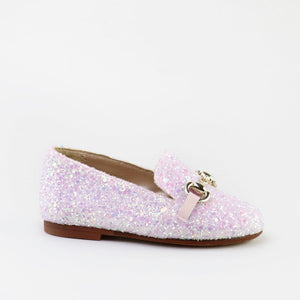 Papanatas Pink Glitter Chain Slip On Loafer 6474AA