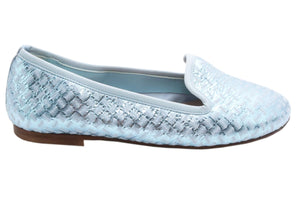 Papanatas Light Blue Crocodile Print Slip On 6721W