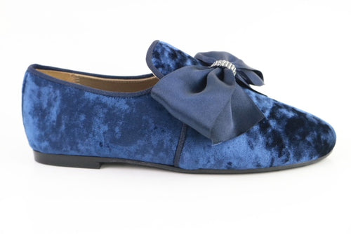 Papanatas Blue Crushed Velvet Slip On 6921X