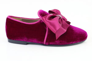 Papanatas Fuschia Velvet Bow Slip on 6921X