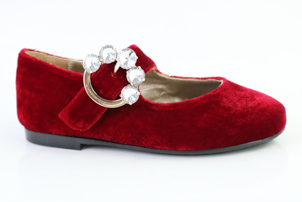 Papanatas Red Velvet Faux Diamond Mary Jane 6924X