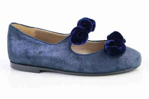 Papanatas Navy Leather Double Bow slip on 6927X