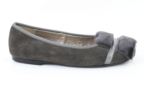 Papanatas Grey Suede Slip On with Faux Fur 6930X