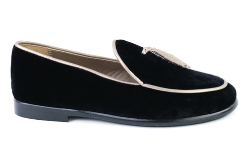 Papanatas Black Velvet Gold Tassel Slip On 6937X