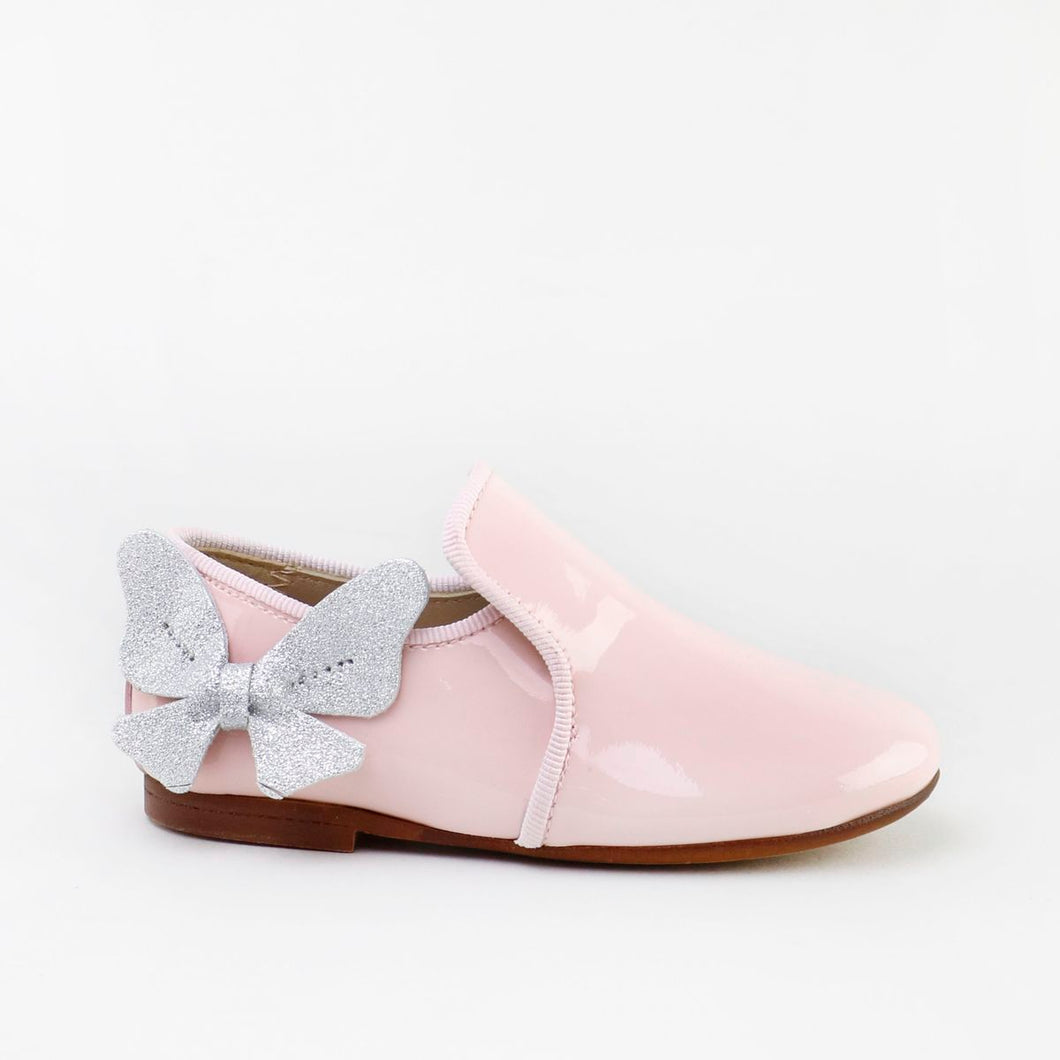 Papanatas Light Pink Patent Leather  Silver Butterfly Slip On Loafer 6957AA