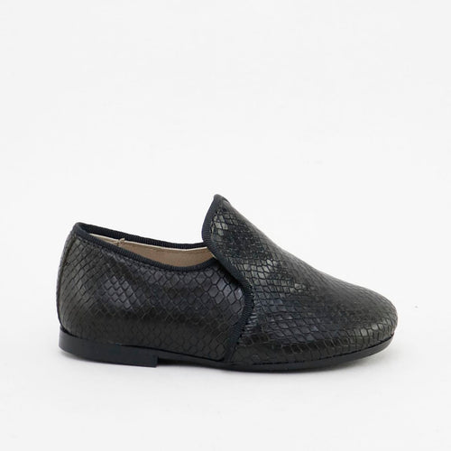 Papanatas Black Snakeskin Slip On Loafer 6957Z