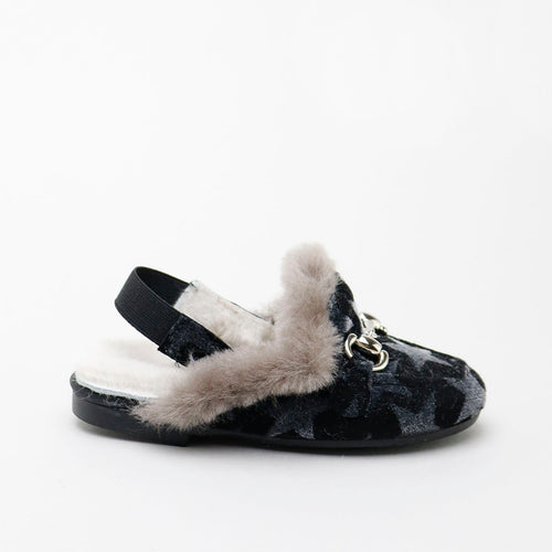 Papanatas Black Star Fur Slingback 6958AB