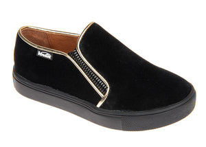 Venettini Mica Black Suede Gunmetal Trim Slip On Sneaker