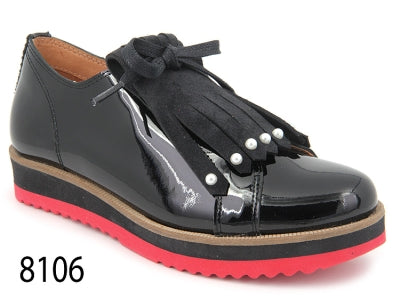 Confetti Black Patent Leather Pearl Fringe Oxford with Red Sole 8106