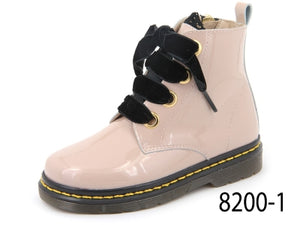 Confetti Light Pink Patent Leather  Black Velvet Lace Boot 8200