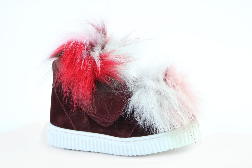 Papanatas Burgundy High Top with Colored Fur 8499X