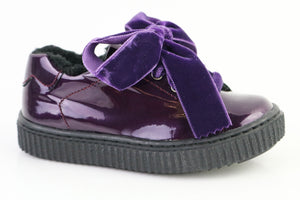 Papanatas Purple Patent Leather Sneaker with Velvet Laces 8554X