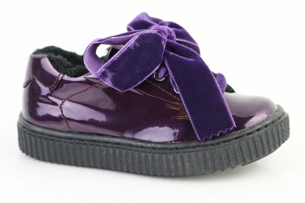 Papanatas Purple Patent Leather Fur Lined Sneaker with Velvet Laces 8554X