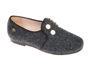 Venettini Conor4 Grey Wool Gold Buttons Smoking Slip On