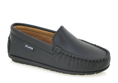 Atlanta Mocassin Black Leather Loafer an01