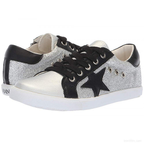Amiana Silver Black Star Lace Up Side Zipper Sneaker A5506