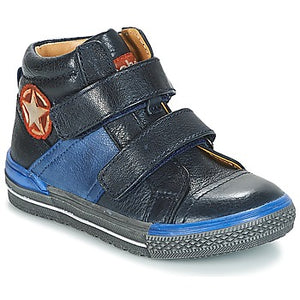 Acebos Navy Blue Double Velcro High Top Sneakers 5166