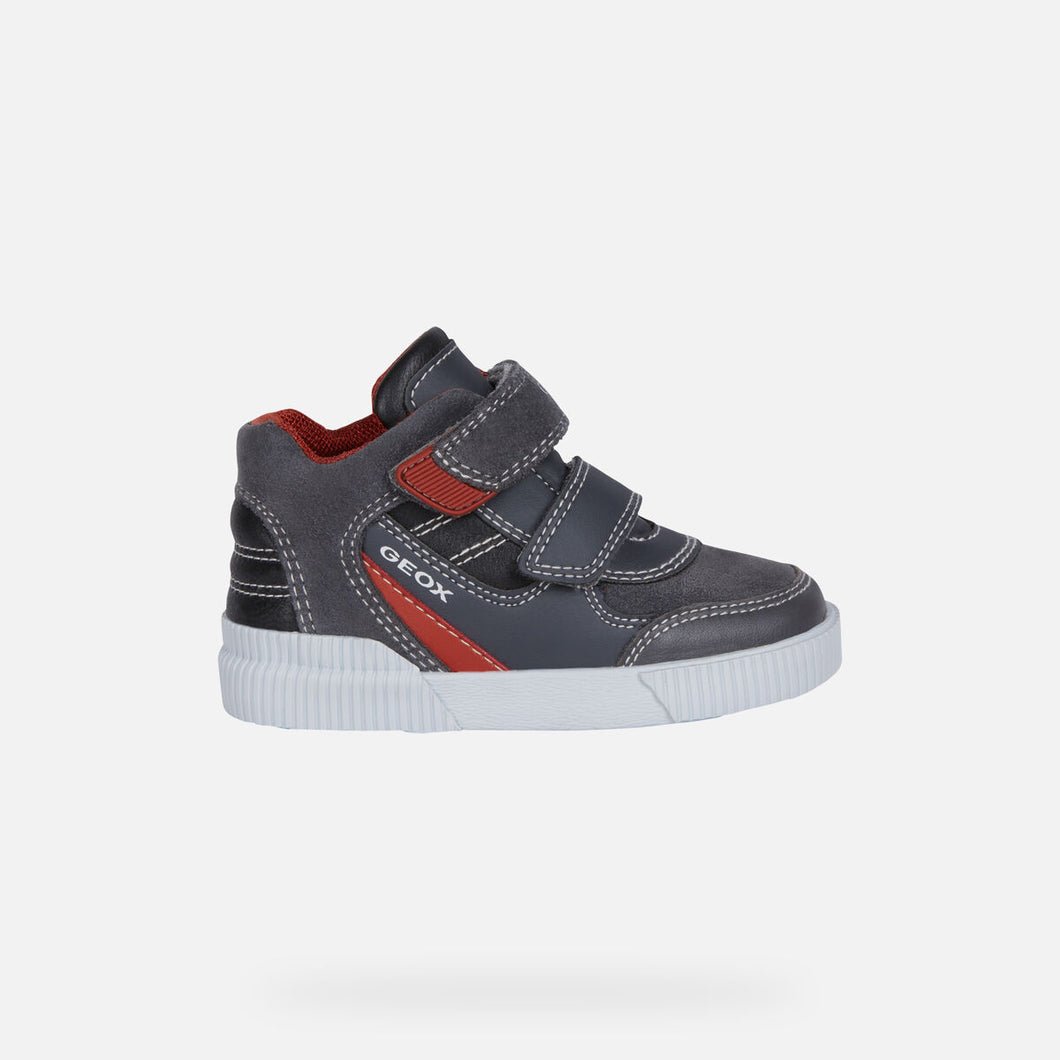 Geox Grey Orange Suede Double Velcro High Top Sneaker B94A