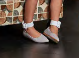 Douuod Nude White Ankle Strap Pointed Ballet