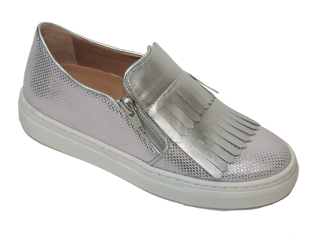 Zubii Metallic Pink DIsco Silver Fringe  Zipper Slip On Sneaker ZU710