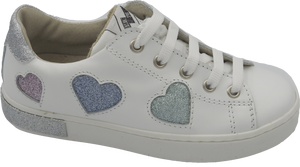 Shoe B 76 White Leather Glitter Heart Laced Sneaker Side Zipper Closure 1301