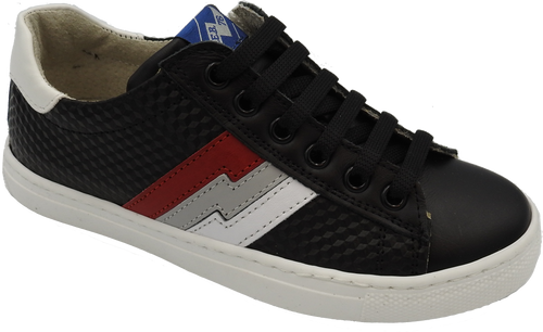Shoe B 76 Black Techno Red/Grey/White Stripe Sneaker 👟 6005