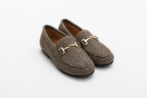 Little Legends Brown Herringbone Slip On