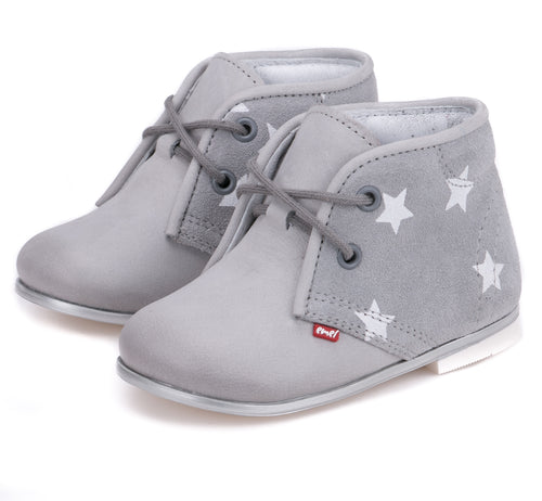 Emel Grey Leather Star Print Laced Bootie (First Walker-Toddlers) E2195