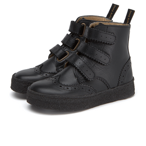 Young Soles Freddie Black Velcro Oxford Boot