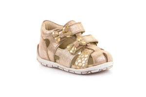 Froddo Gold Bow Design Velcro Closed Toe Sandal G2150104