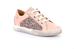 Froddo Nude Leather Laced Glitter Side Zipper Sneaker G3130128