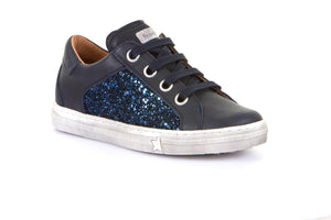 Froddo Navy Leather Glitter Lace Side Zipper Sneaker G3130128