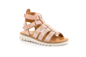 Froddo Nude And Pink Velcro Gladiator Sandal G3150134