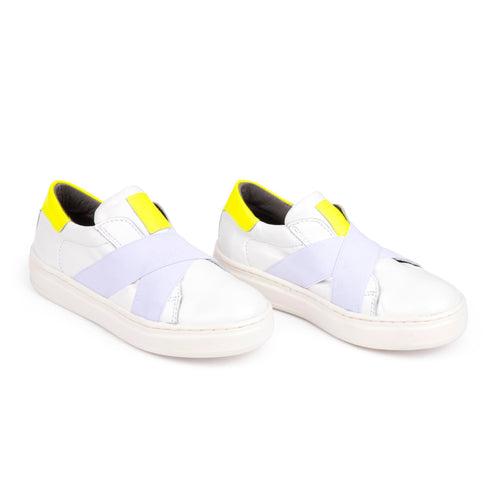 Blublonc White Neon Criss Cross Elastic Slip On Sneaker 22S