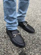 Hoo Black Houndstooth Leather Chain Loafer 3202