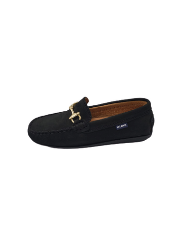 Atlanta Mocassin Black Nubuck Gold Chain Slip On Loafer 17812