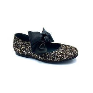 Blublonc Gold Black Glitter Bow Mary Jane 1284