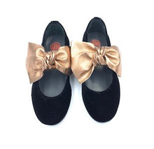 Blublonc Black Velvet Rose Gold Bow Mary Jane 1284