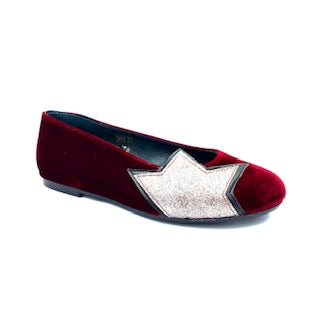 Blublonc Wine Velvet Star Slip On 5375