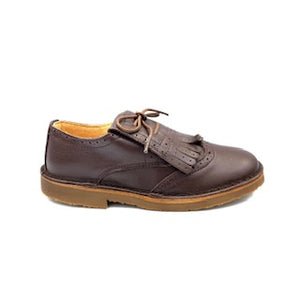 Confetti Brown Leather Slip On Fringe Oxford 4615