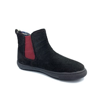 Vulladi Black Suede Burgundy Side Bootie 3305