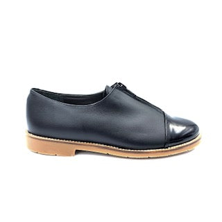 Geppettos Black Leather Zipper Front Shoe 138813/GP0562