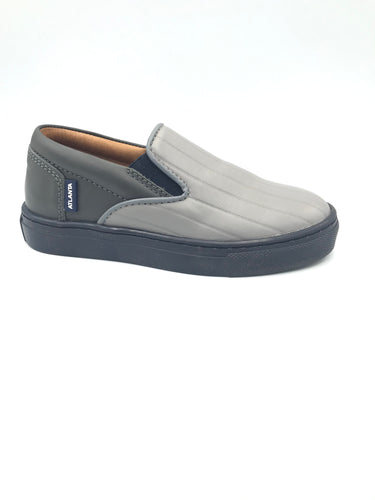 Atlanta Double Toned Grey Ribbed Slip On Sneaker b830